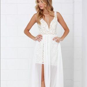 Lulus maxi gown, sheer overlay